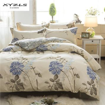 XYZLS Pastoral Style Bedding Set Flower Printed  Duvet Cover Sets 2pcs/3pcs/4pcs Twin Queen King Size Soft Bed Linen