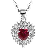 "2.34 Ct Heart Shape Red Created Ruby 925 Sterling Silver Pendant with 18"" Chain"