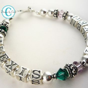 Mothers Bracelet Mother's Name Mother Grandma  Personalized Sterling Silver Two 2 Child name Swarovski Crystal Mom, add up to 4 strands