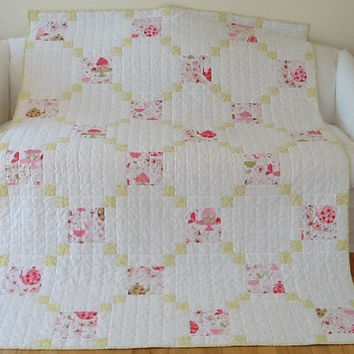 Shabby Chic Quilt Strawberry Tea Party Large Lap Quilt Irish Chain Handmade Quilt  58 x 78 inches Free Shipping Canada and USA