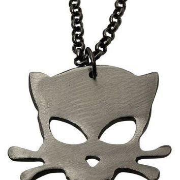 Watto Distinctive Metal Wear Chain - Outlaw Kitty Cat Head Necklace. Silver
