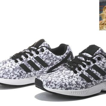 Newest ZX Flux Print Checkered Black and White shoes