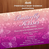 Butterfly baby shower invitation, purple butterfly baby shower, Baby shower invitation, Butterfly kisses, shower invitation, Digital 4x6,
