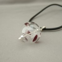 Mulberry Splash Handblown Glass Bubble and Sterling Silver Pendant | The Silver Forge Handcrafted Jewellery