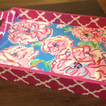 Lilly Pulitzer Lucky Charms/Moroccan Print Hand-painted Desk Tray