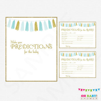 Baby Predictions, Blue and Gold Baby Shower Printables, Boy Baby Shower Games, Predictions for Baby, Instant Digital Download, Tassels TASBG