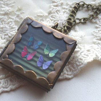 1- Butterfly Specimen Necklace Insect Shadow Box OOAK Unique Miniature Butterflies in Glass Locket PeculiarCollective Necklace