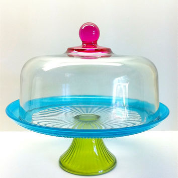 Full Size Covered Cake Stand Painted  Hot Pink Green and Aqua