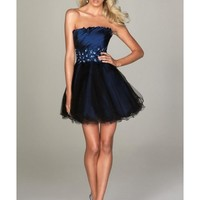 Appliques Organza Ball Gown Strapless Short Length Blue Cocktail Dress NPD0098