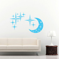 Sky Moon Stars Sun Wall Decal Vinyl Decals Sticker Interior Home Decor Vinyl Art Wall Decor Bedroom Nursery Baby Kids Children's Room SV5894