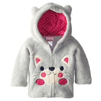 Baby Girls Children Cartoon Coats Autumn Fashion Jackets Baby Boys Animal Long Sleeve Outerwear Coral Velour Kids Clothes