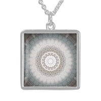 Silver and Sky Blue Mandala Sterling Silver Necklace
