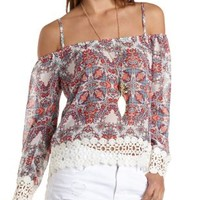 Crochet-Trim Cold Shoulder Top by Charlotte Russe - Ivory Combo