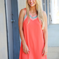Coral Sunset Sleeveless Dress