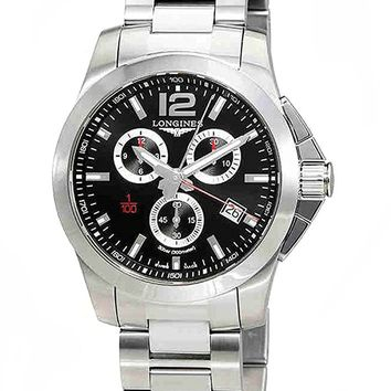 Longines Conquest Chronograph Black Dial Mens Watch L38004566