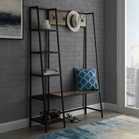 Urban Industrial Rustic Oak Hall Tree with Shelves