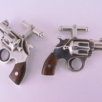 Sterling Silver Revolver Cufflinks with by MetalCoutureJewelry