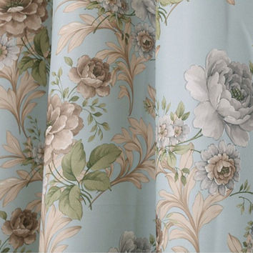 Rustic Window Curtains For living Room/ Bedroom Floral Blackout Curtains Window Treatment /drapes Home Decor Blue Free Shipping
