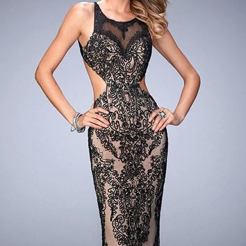 Embroidered Open Back Gown by Gigi by La Femme