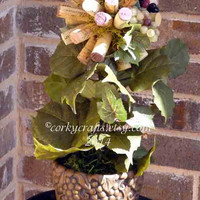 Wine cork topiary centerpiece perfect floral alternative for parties/weddings/wine tastings