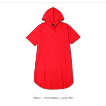 cc hcxx Red Short Sleeve Hoodie