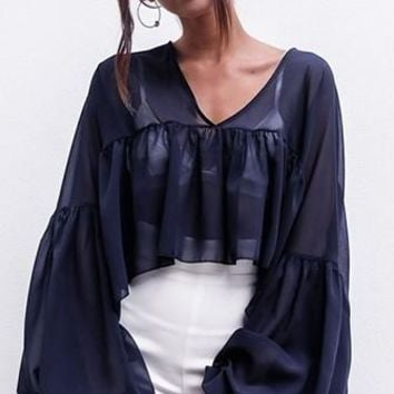 Highs And Lows Long Bell Sleeve V Neck Pleated Asymmetric Chiffon Blouse Top - 2 Colors Available
