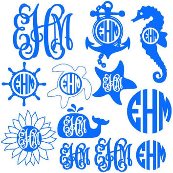Set of Summer Monogrammed Decals