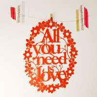 Paper cut All you need is love wall decor by Papercutsongs on Etsy