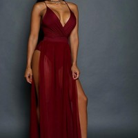 Dancing with the stars Maxi Dress -Burgundy