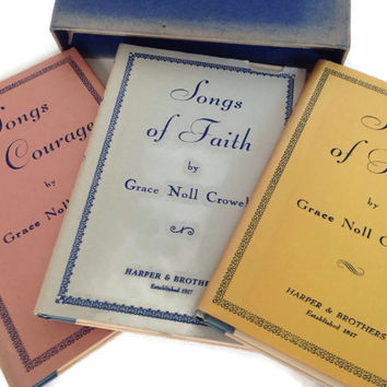 Vintage Poetry Books-Grace Noll Coward-Inscribed and Signed-Boxed Set-Inspirational-Spiritual-1930's-Faith, Hope and Courage-Poems-