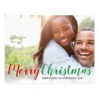 Modern Merry Christmas Holiday Photo Postcard