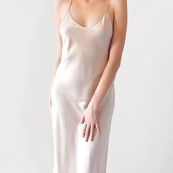 Kiss Charmeuse Nightgown/Peignoir with Sheer Embroidered Back(XS-Medium)