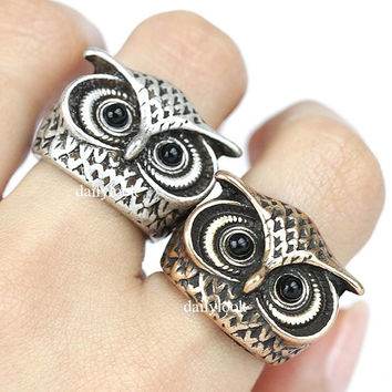 owl ring, retro owl ring, animal ring, animal wrap ring, retro ring, bold ring, man ring, unique ring, bird ring, owl, vintage ring