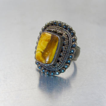 Silver Butterscotch Amber Ring, Antique Russian Baltic Amber Jewelry, Etruscan Silver Amber Ring, Wire Work Granulation Egg Yolk Amber Ring
