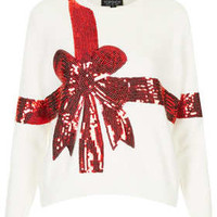 TALL KNITTED SEQUIN PRESENT JUMPER