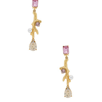 Oscar de la Renta Coral Crystal Earrings in Vintage Rose | FWRD