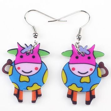 Drop cow earrings acrylic dangle pattern new spring summer girl woman fashion jewelry accessories cute animal design