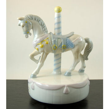Vintage Porcelain Music Box Figurine - Otagiri Carousel Horse - Rotates and Plays Carousel Waltz