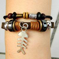 Metal   bones Adjustable bracelet-antique silver bracelet Cowhide Leather hipster jewelry leather bracelet wooden  bead and hollowed tube