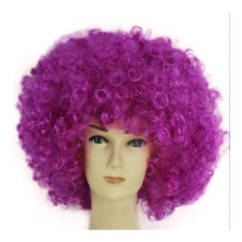 Fashion Afro Cosplay Curly Clown Party 70s Disco Cosplay Wig Cheering Squad Clown   Voilet