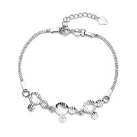 CoolGo Women 925 Sterling Silver Bracelet Jewellery With Mickey House Head Charm Box Chain