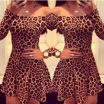 Leopard Skirt Sexy Dresses Party Skirts New Sexy Fashion Women Mermaid Bandage Skirt Square Collar Print Strap Skirt Croed Dresses 66057#