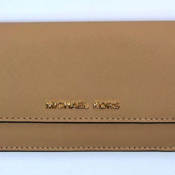 Michael Kors NEW Jet Set Travel Flat Leather Purse Wallet Oyster BNWT