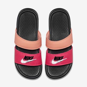 Nike Benassi Duo Ultra Sandals / Slides + Crystals - Racer Pink