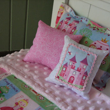 "Princess Bedding Set for American Girl Doll or similar 18"" dolls"