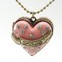 DaisyJewel Locket Necklace: Betsey Johnson Cake Heart Pave Crystal Encrusted Pink High Quality Pendant Locket with Magnetic Closure & Secret Sparkly Mini Diamond Ring - Accented by Gold Love Sashay on 30 to 33 in. Adjustable Ball Chain with Arrow and BJ S