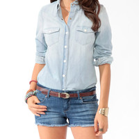 Snap Button Chambray Shirt