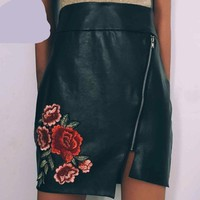 Fashion Embroidery Floral Skirts Women Sexy High Waist Pencil Skirt Zipper Pu Leather Body con Skirt Black