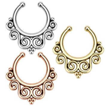 ac ICIKO2Q Fake Non-Piercing Tribal Swirl Septum Nose Clip On Hanger Rings Stud Body Jewelry Color:All colors (3 lot)