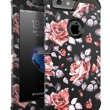 DCCK2JE OBBCase 29case-ch iPhone 7 Case, (Heavy Duty) Three Layer Hybrid Sturdy Armor High Impact Resistant Protective Cover Case for iPhone 7 - Rose Flower/Black